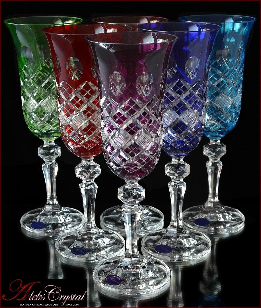Чешский цветной хрусталь бокалы